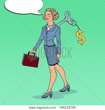 Mechanical Business Woman with Dollar Sign Key on her Back. Work Automation. Pop Art vector illustration