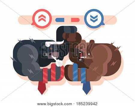 Bulls and bears fight. Market business, finance fight, investment and profit, growth financial trend, vector illustration