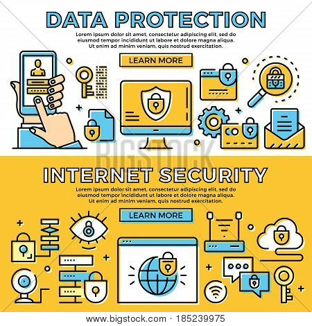 Data protection, internet security thin line banners set. Flat design concepts, line icons set. Modern design for web banner, web site, advertising, infographics. Premium quality. Vector illustration