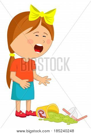 Little girl has dropped her fast food beverage crying over white background