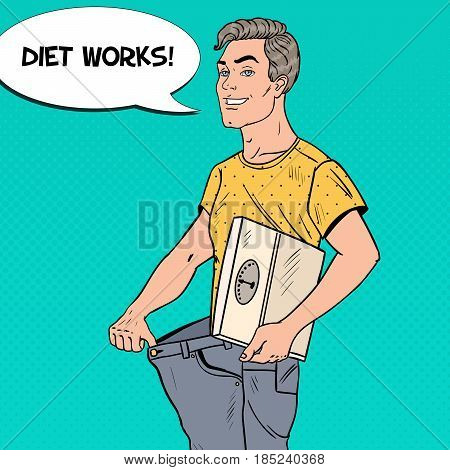 Young Man in Oversized Jeans with Weights Happy of Dieting Results. Healthy Lifestyle. Pop Art vector illustration