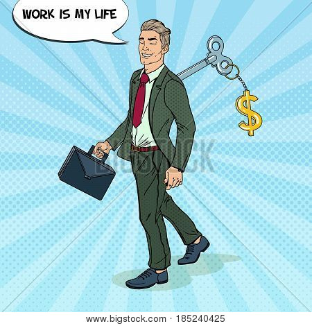 Robotic Businessman Going to Work with Key of his Back. Pop Art vector illustration