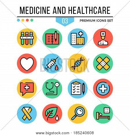 Medicine and healthcare icons. Modern thin line icons set. Premium quality. Outline symbols, graphic concepts, flat line icons for web design, mobile app, ui, infographics. Vector illustration