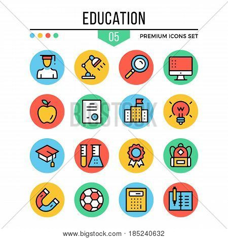 Education icons. Learning concepts. Modern thin line icons set. Premium quality. Outline symbols, graphic elements, flat line icons for web design, mobile apps, ui, infographics. Vector illustration