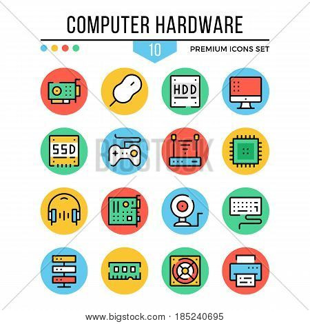Computer hardware, computer components icons. Modern thin line icons set. Premium quality. Outline symbols collection, flat line icons for web design, mobile app, ui, infographics. Vector illustration