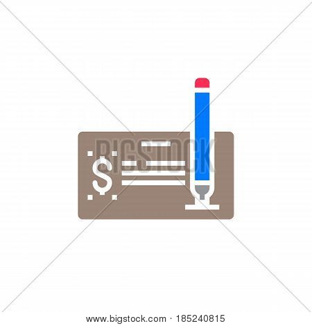 Pay Check Icon Vector, Filled Flat Sign, Solid Colorful Pictogram Isolated On White, Logo Illustrati