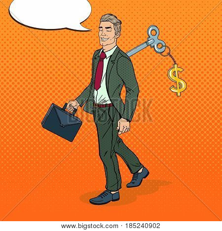 Mechanical Businessman Going to Work with Key of his Back. Pop Art vector illustration