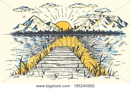Rising sun on the lake landscape with a bridge. Hand-drawn vintage illustration. Sketch in retro style