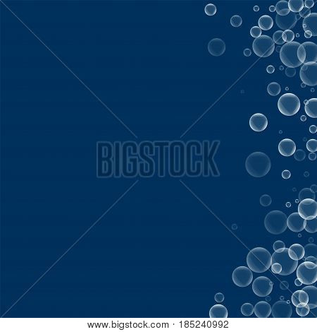 Random Soap Bubbles. Abstract Right Border With Random Soap Bubbles On Deep Blue Background. Vector