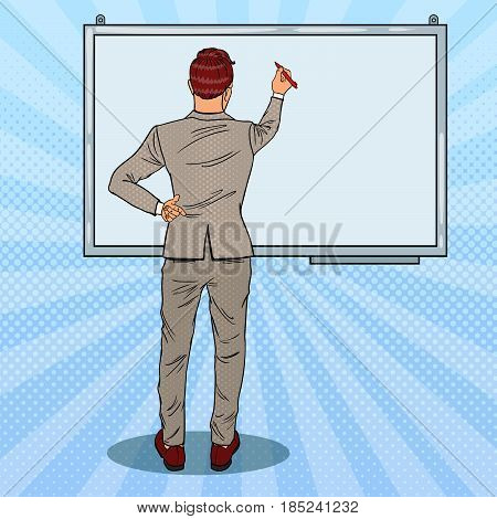 Businessman Drawing on the Whiteboard. Business Presentation. Pop Art vector illustration