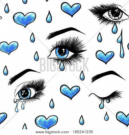 Beautiful open female blue eyes with long eyelashes is isolated on a white background.