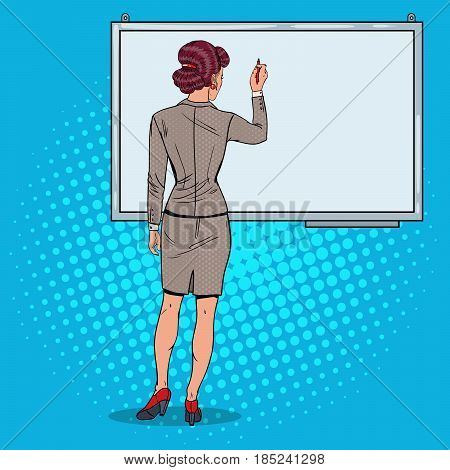 Woman Drawing on Whiteboard. Business Presentation. Pop Art vector illustration