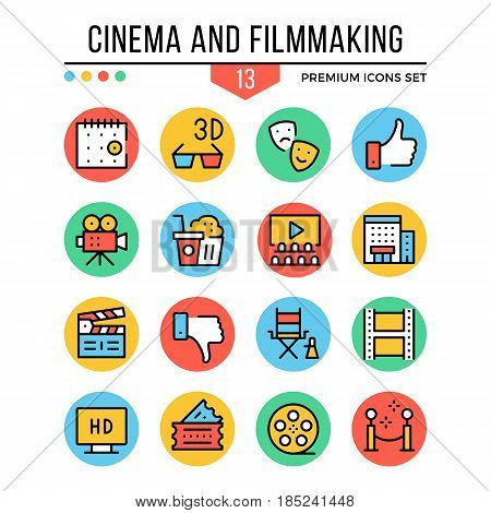 Cinema and filmmaking icons. Modern thin line icons set. Premium quality. Outline symbols, graphic elements, concepts, flat line icons for web design, mobile app, ui, infographics. Vector illustration