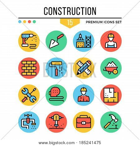 Construction icons. Modern thin line icons set. Premium quality. Outline symbols, graphic elements, concept collection, flat line icons for web design, mobile app, ui, infographic. Vector illustration