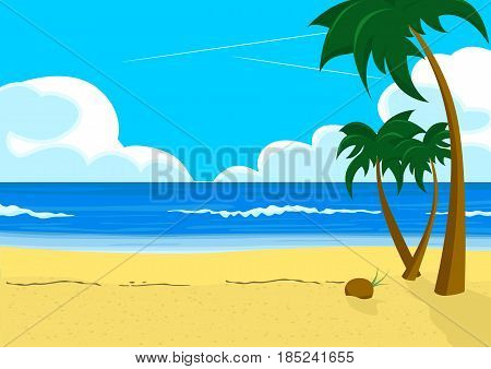 Wonderful scenery with tropical beach and palm trees. Travel concept