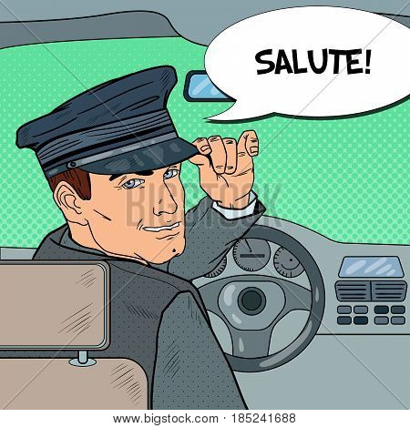 Limousine Driver. Chauffeur Saluting Passenger. Pop Art vector illustration
