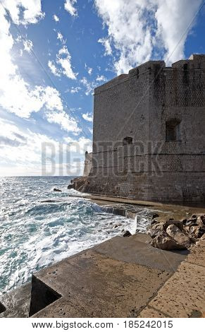 DUBROVNIK, CROATIA - NOVEMBER 07: Defense walls of the old town of Dubrovnik, a well-preserved medieval fortress and a popular tourist destination, Croatia on November 07, 2016.