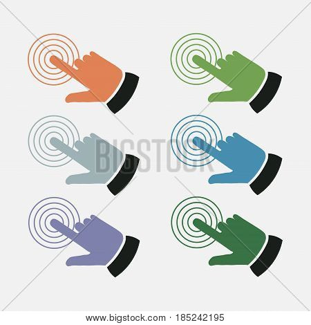 set click the icon with your finger touch the touch screen touch phone fully editable vector image