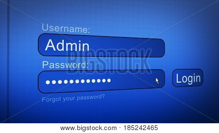 Login and password on computer blue screen