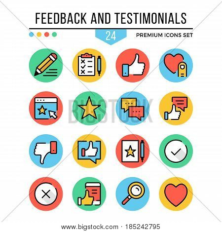 Feedback and testimonials icons. Modern thin line icons set. Premium quality. Outline symbols, graphic concepts, flat line icons for web design, mobile apps, ui, infographics. Vector illustration