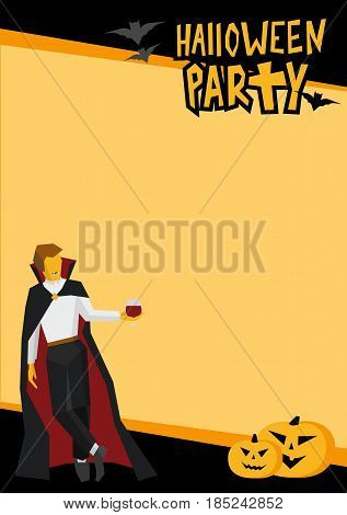 Halloween frame in black and orange. Template for party poster or card with traditional horror pumpkins and bats. Vampire with wineglass in the corner. Simple style vector clip art.