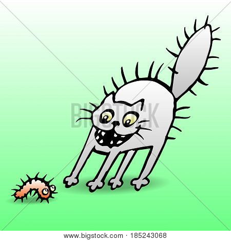 Cat in shock from seeing the caterpillar. Vector illustration. Cartoon pet and funny bug.