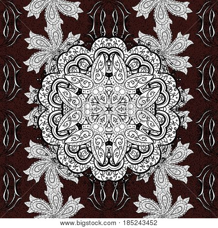 Brown background. Background. Brown spotted Vector illustration. Beautiful pattern with abstract flowers.