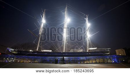 Greenwich, London, UK - 22 January 2017: View of the Cutty Sark at night in London, one of the fastest sailing ships from the 19th century, Greenwich, London