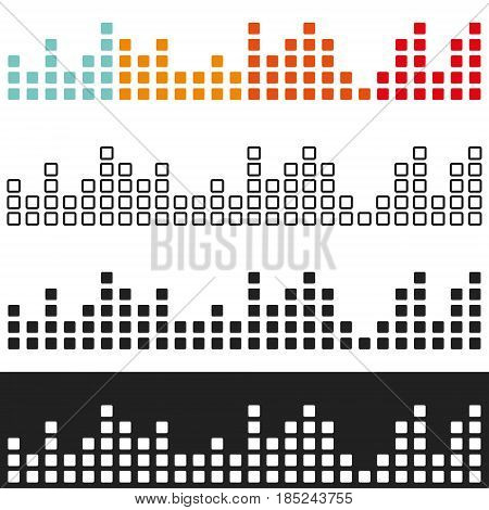 Various colored volume graphic equalizer. Set of sound spectrum analyzer. Vector illustration.