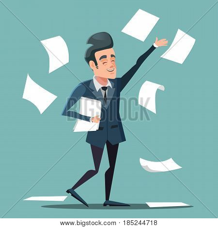 Happy Businessman Throwing Papers at the Office. Vector cartoon illustration