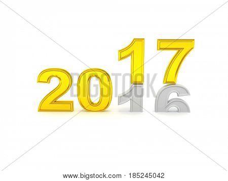 Happy New Year 2017. 3D illustration