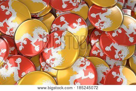 Bhutan Badges Background - Pile Of Bhutanese Flag Buttons.
