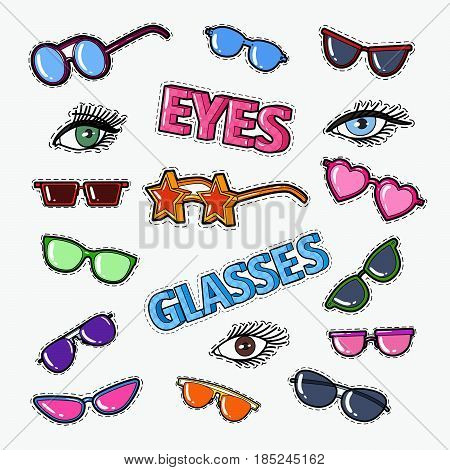 Eyeglasses Doodle with Sunglasses and Eyes. Vector badges, patches and stickers