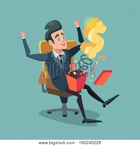 Excited Businessman Opening Gift Box with Money. Vector cartoon illustration