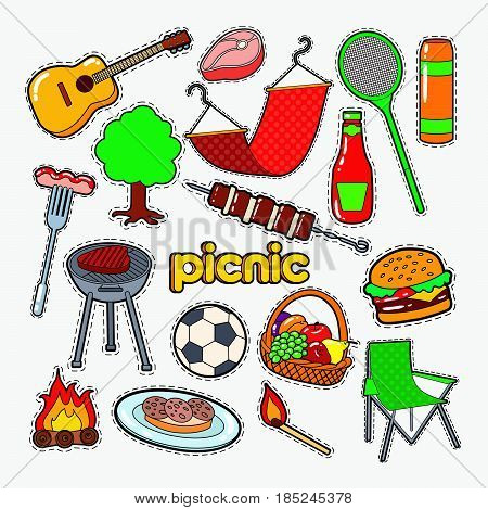 Picnic BBQ Party Doodle. Barbecue and Grill Patches, Badges and Stickers. Vector illustration