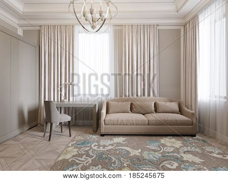 Classic Traditional Modern Room Home Office Living room or Bedroom Guest room Interior Design. 3d rendering