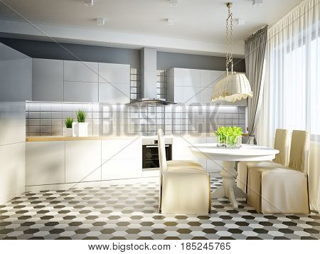 Modern Urban Contemporary Studio open living room dining room and kitchen Interior Design with gray and white brick walls bright stone floors and white glossy kitchen. 3d render
