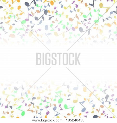 Colored Musical Notes Pattern on White Background