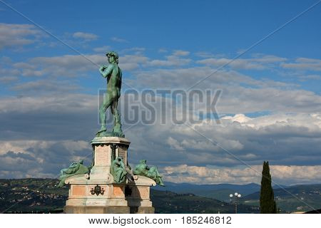 David Statue at Piazzale Michelangelo built in 1869 and designed by architect Giuseppe Poggi on a hill just south of the historic center on the left bank of the Arno river in Florence Italy