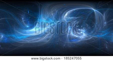 Blue glowing plasma in space 360 degree panorama computer generated abstract background 3D rendering
