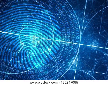 Blue glowing fibonacci circles with digital fingerprint computer generated abstract background 3D rendering
