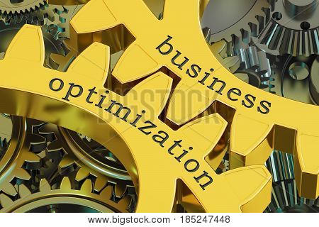 Business Optimization concept on the gearwheels 3D rendering