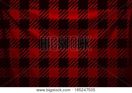 illustration of dark lumber red square textile background with creases