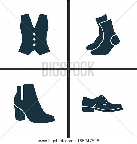 Garment Icons Set. Collection Of Female Winter Shoes, Half-Hose, Waistcoat And Other Elements. Also Includes Symbols Such As Garment, Boots, Male.