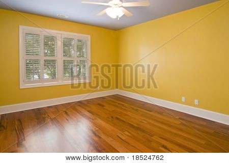 empty room with yellow walls and view windows