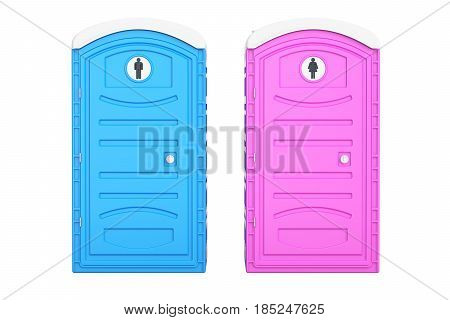 Portable blue men and pink women toilets 3D rendering isolated on white background