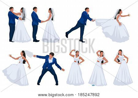 illustration of groom and bride making fun and other isolated on white backgriund