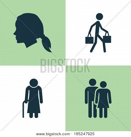 Person Icons Set. Collection Of Beloveds, Gentlewoman Head, Old Woman And Other Elements. Also Includes Symbols Such As Person, Woman, Man.
