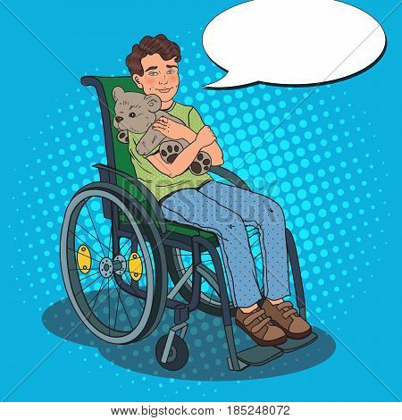 Disability Person. Happy Handicapped Boy Sitting in Wheelchair. Pop Art vector illustration