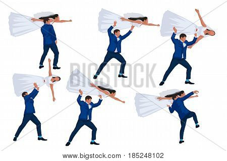 illustration of groom throwing away bride set isolated on white background